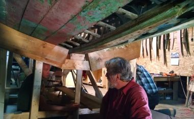 Volunteers Joe Kenneally, Bill Burrows and Guy Hazelton shaping the transom for the Eleanor