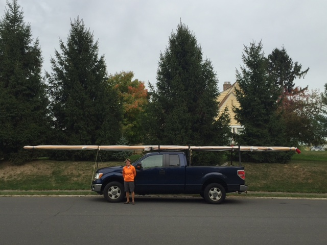 Spar builder Suzanne Leahy drove the spars to Hudson atop her pickup