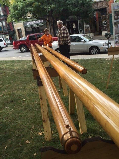 Spar builder Suzanne Leahy helps set up the spars at the park
